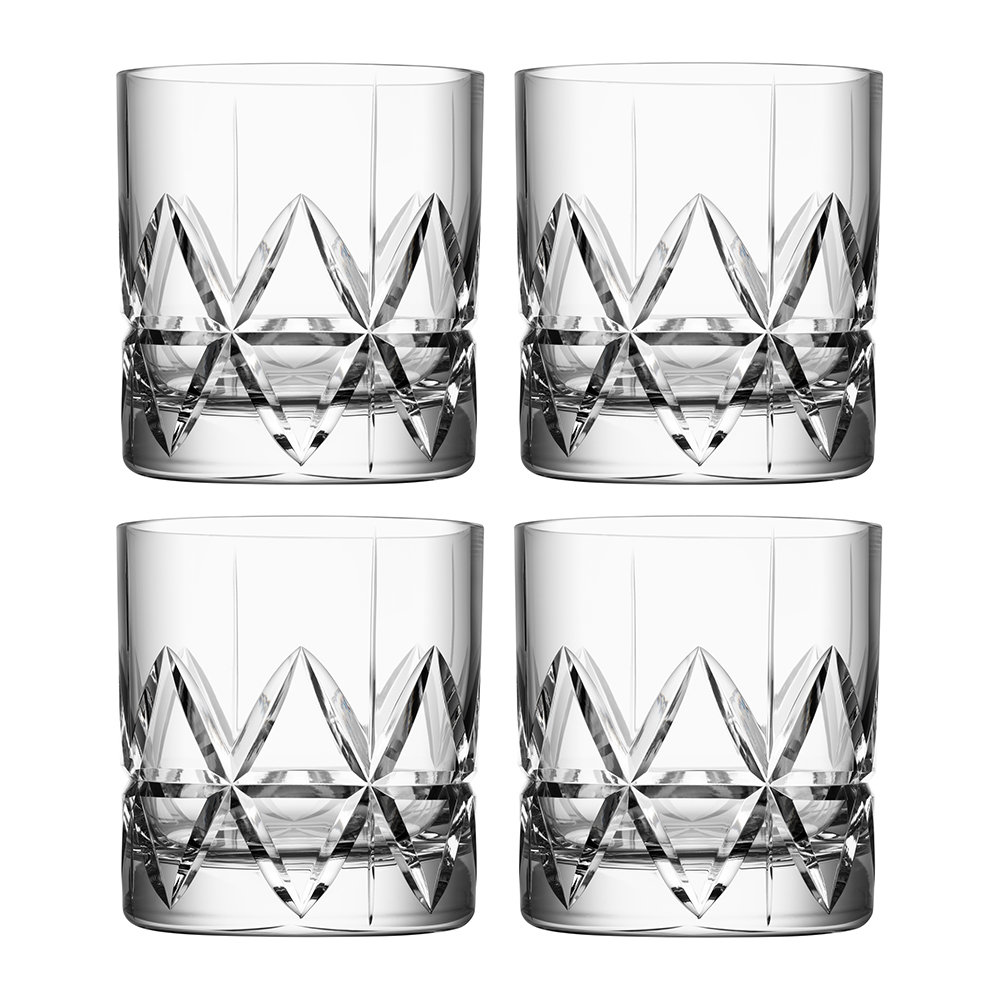 SET OF 4 BRAND NEW IN BOX ORREFORS DUNCAN DOUBLE OLD FASHIONED GLASSES