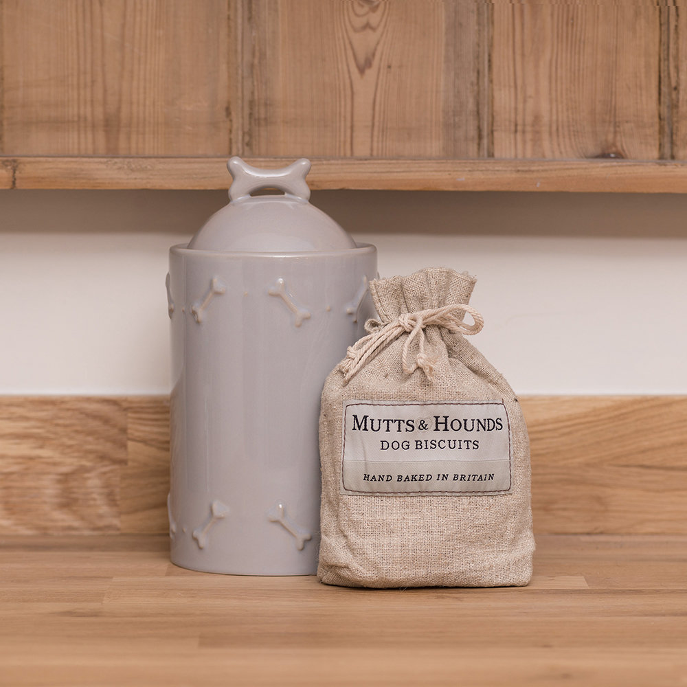 Mutts & Hounds - Ceramic Biscuit Jar - French Gray