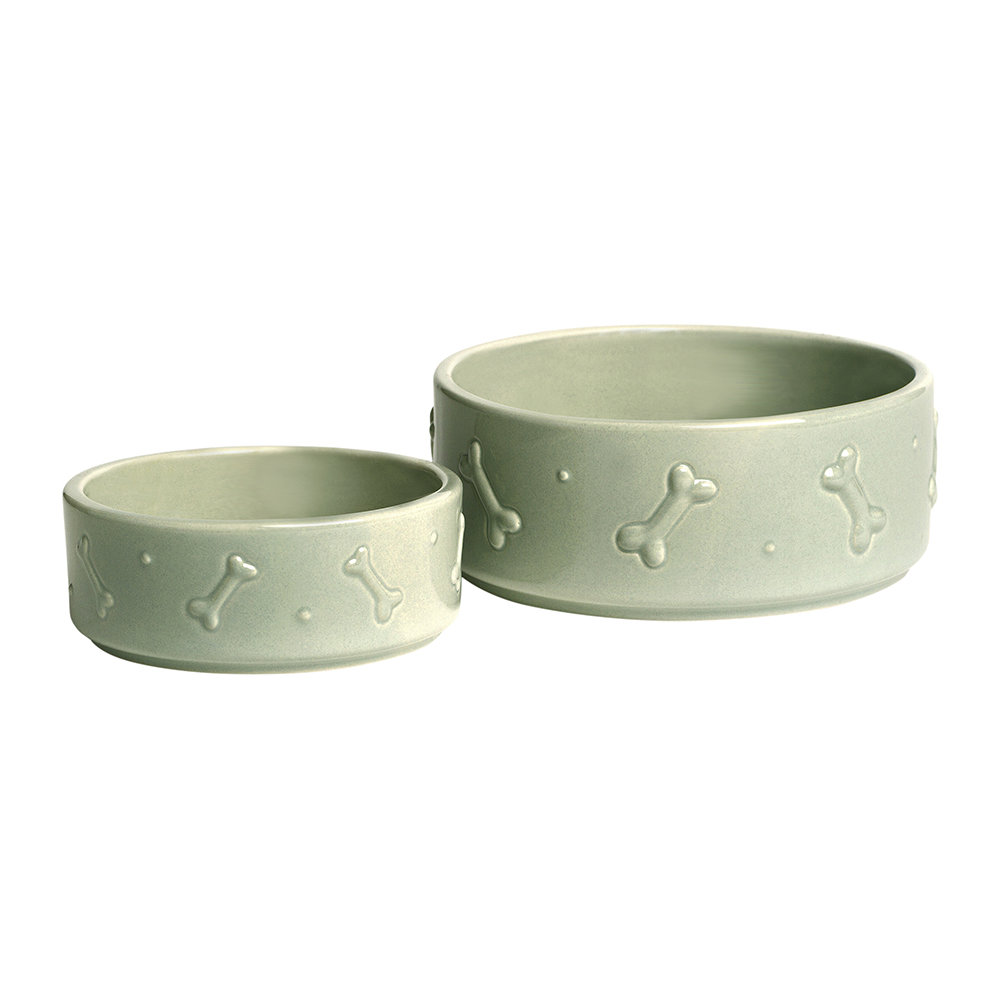 Mutts & Hounds - Ceramic Dog Bowl - Sage Green - Small