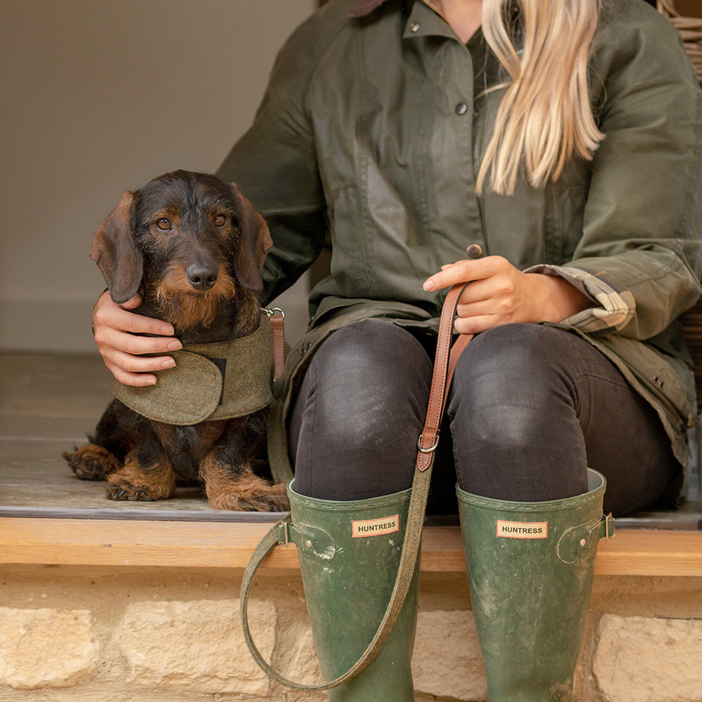 Mutts & Hounds - Leather & Tweed Lead - Forest Green/Tan - Slim
