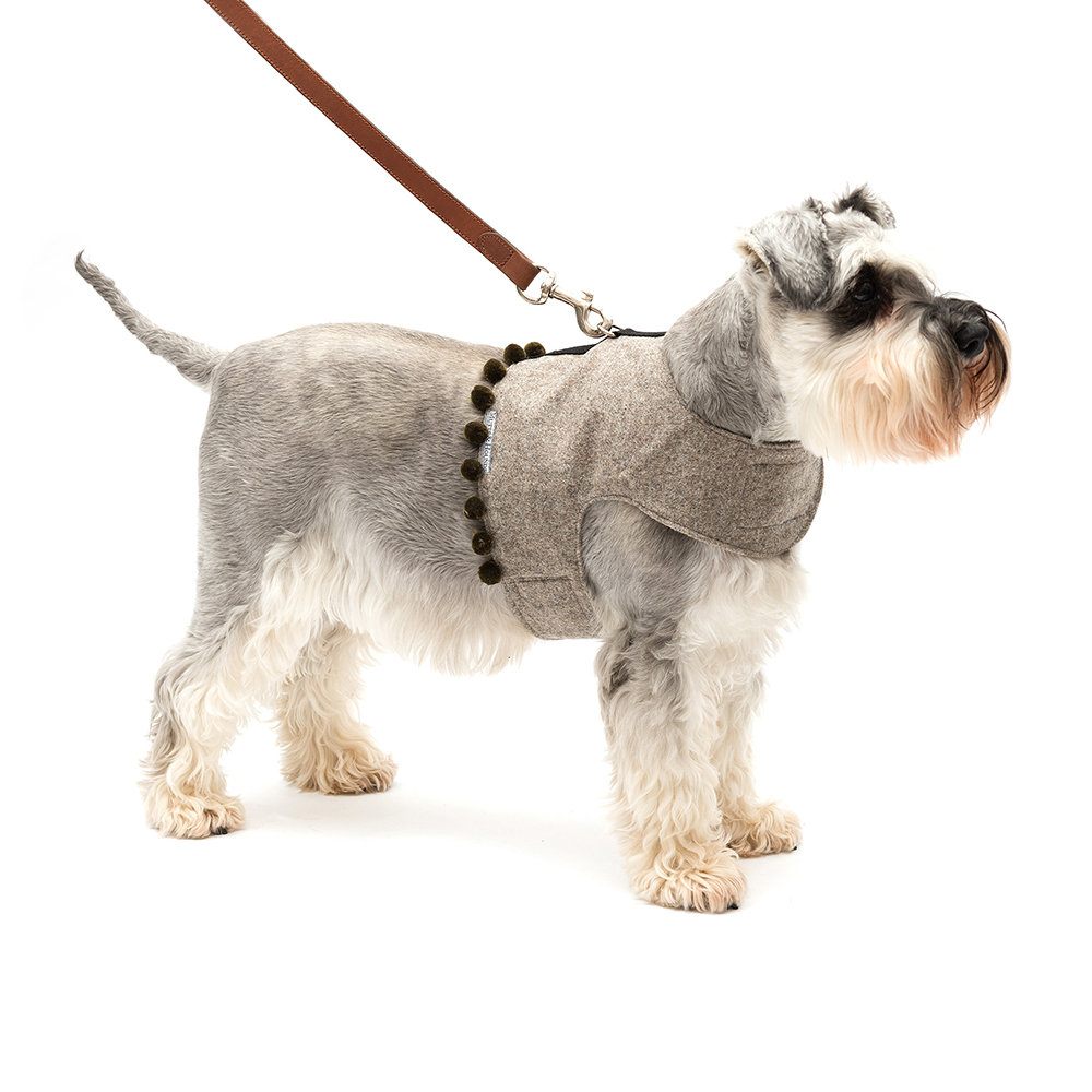 Mutts & Hounds - Tweed Harness with Pom Pom Trim - Grey/Olive - Small