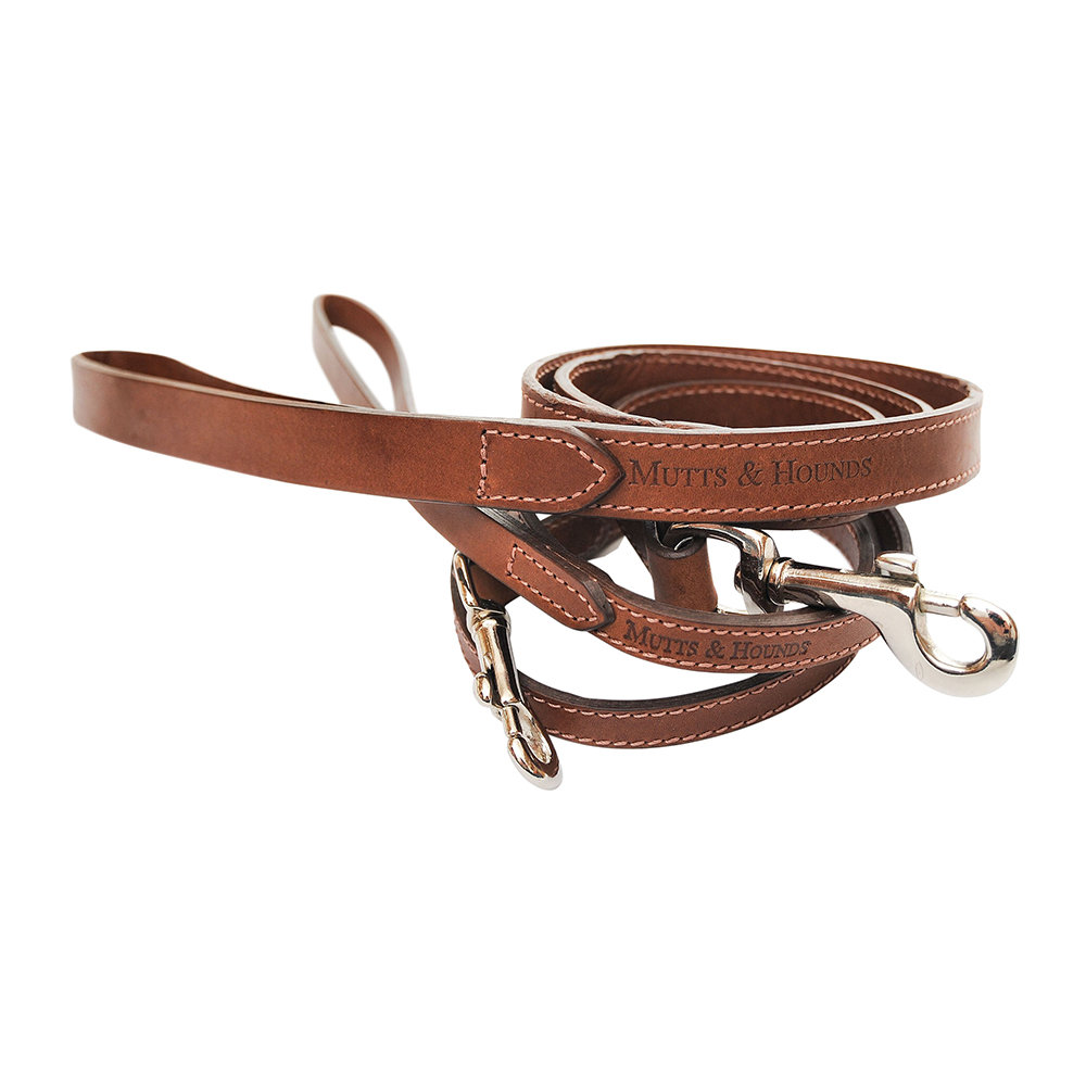 Mutts & Hounds - Leather Lead - Tan - Slim