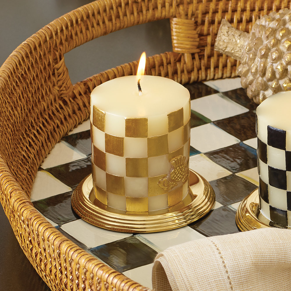 MacKenzie-Childs - Check Pillar Candle - Gold - 8cm