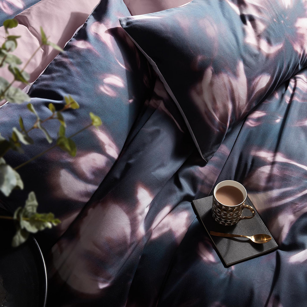 Karl Lagerfeld - Diffused Floral Quilt Cover - Midnight - Super King