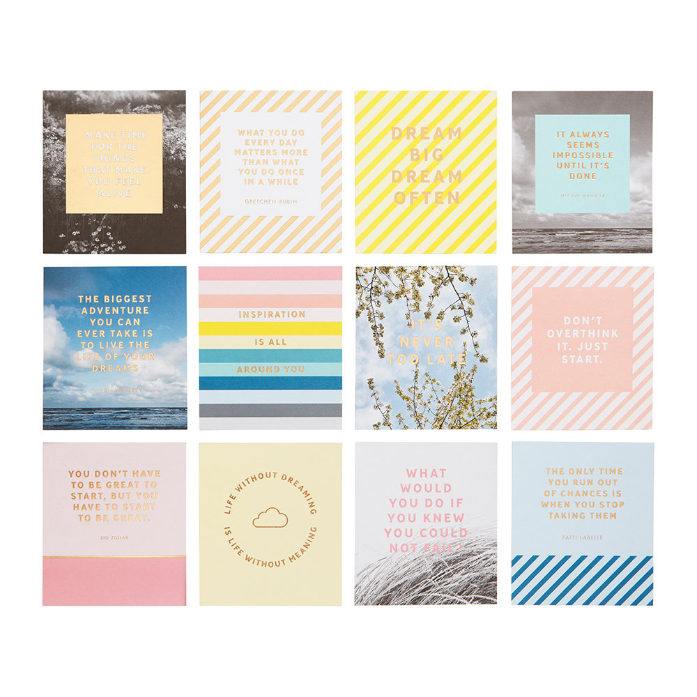 Kikki.K - Inspiration Quote Cards with Wooden Stand - 12 Pack
