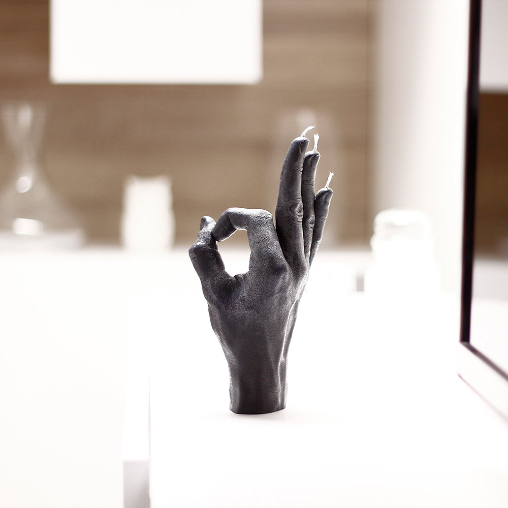Candle Hands - 'OK' Candle - Black