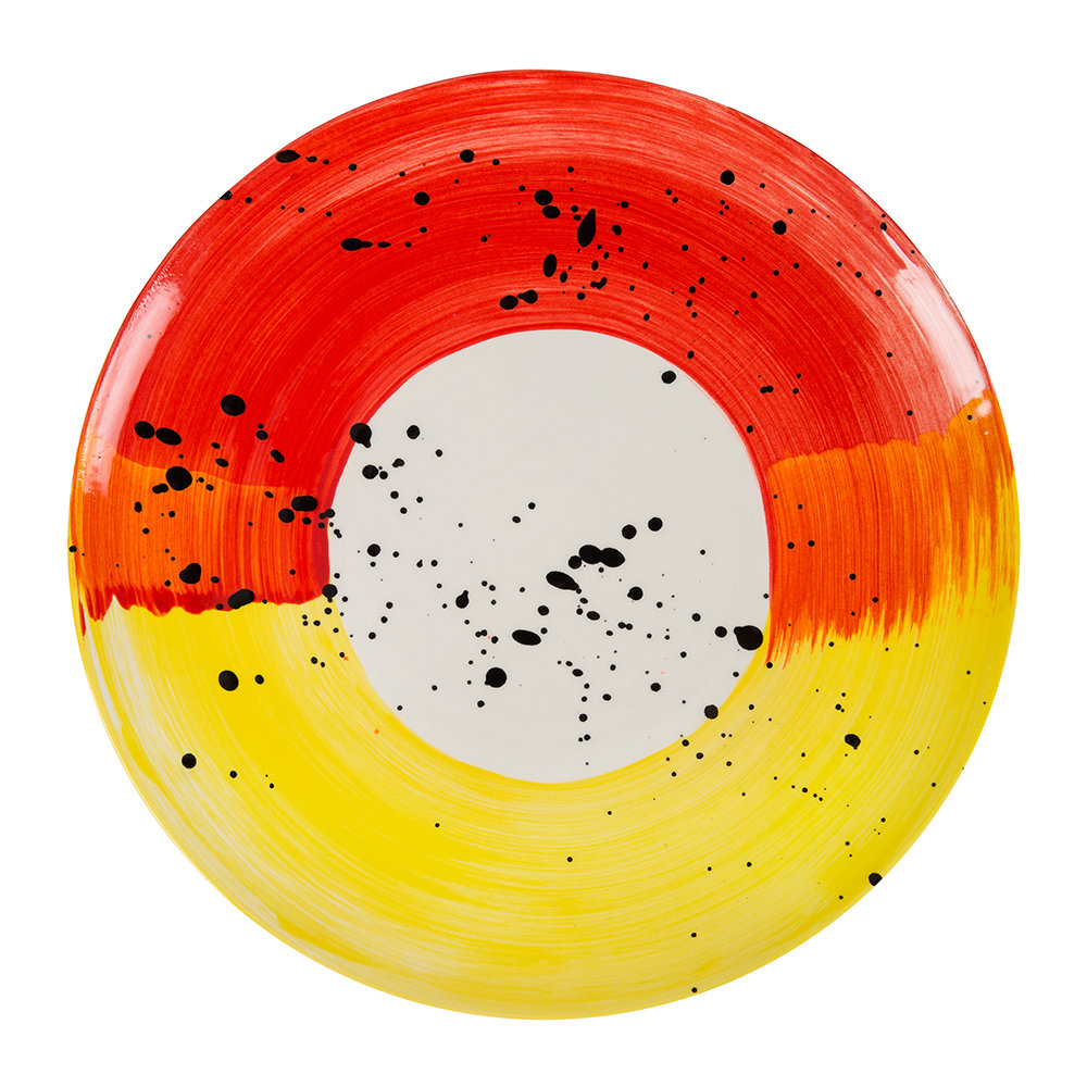 Bliss Home - Fabbro Swish Dinner Plate - Red and Yellow
