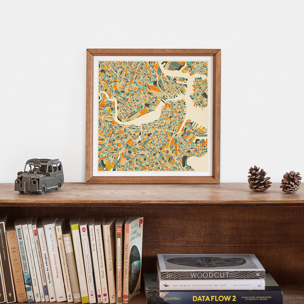 Monde Mosaic - Boston Map - 40x40cm