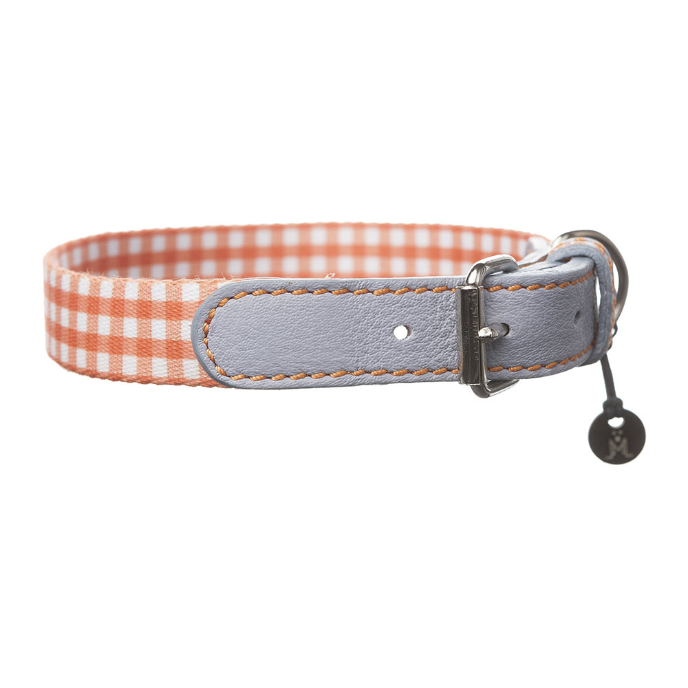 Mungo  Maud - Clara Check Collar - Orange/Lavender - Small