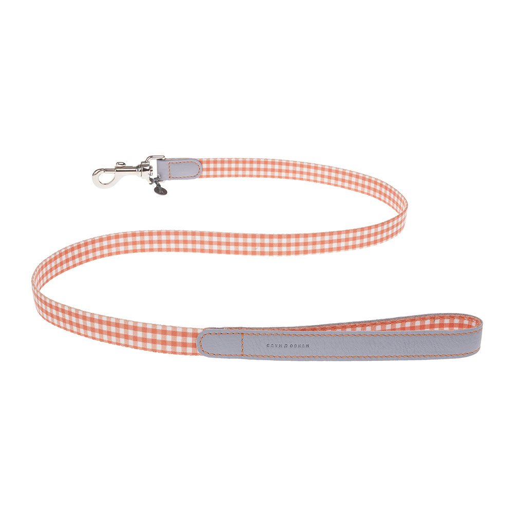 Mungo  Maud - Clara Check Lead - Orange/Lavender - Small