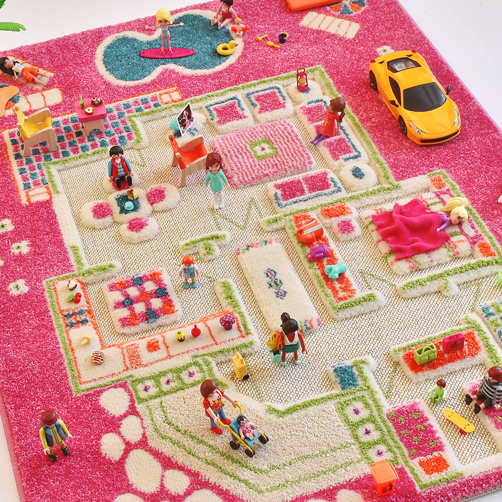 IVI World - Children's 3D Play Rug - Pink Play House - 80x113cm