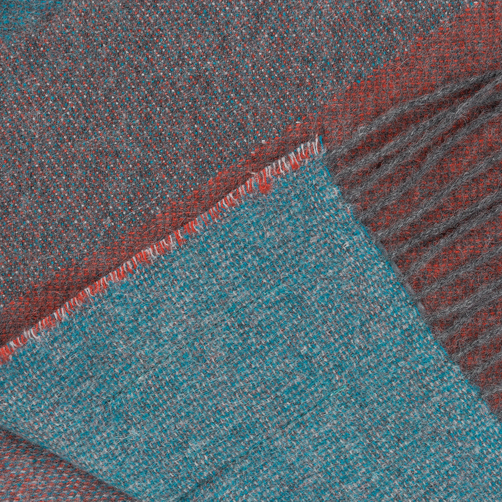 Simple Things - Alpaca Throw  - Ski - Teal/Orange