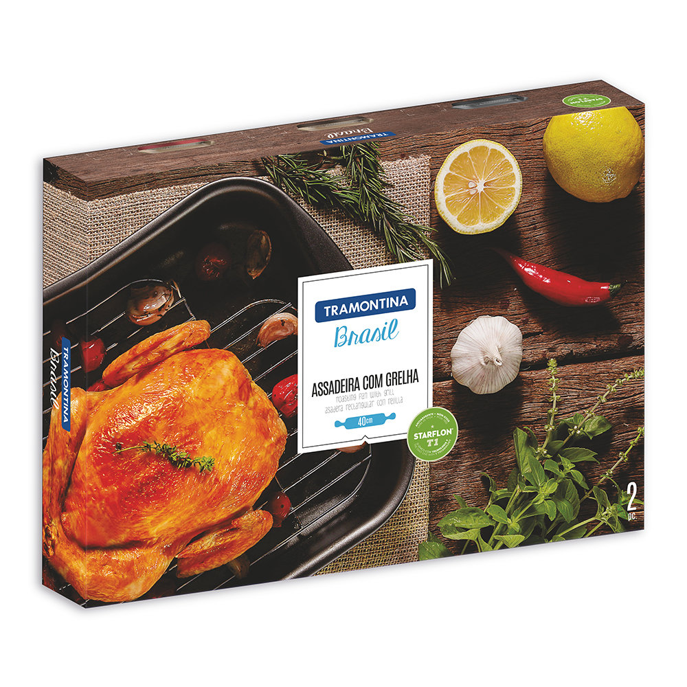 Tramontina - Brazil Roasting Pan and Stainless Steel Rack - Red