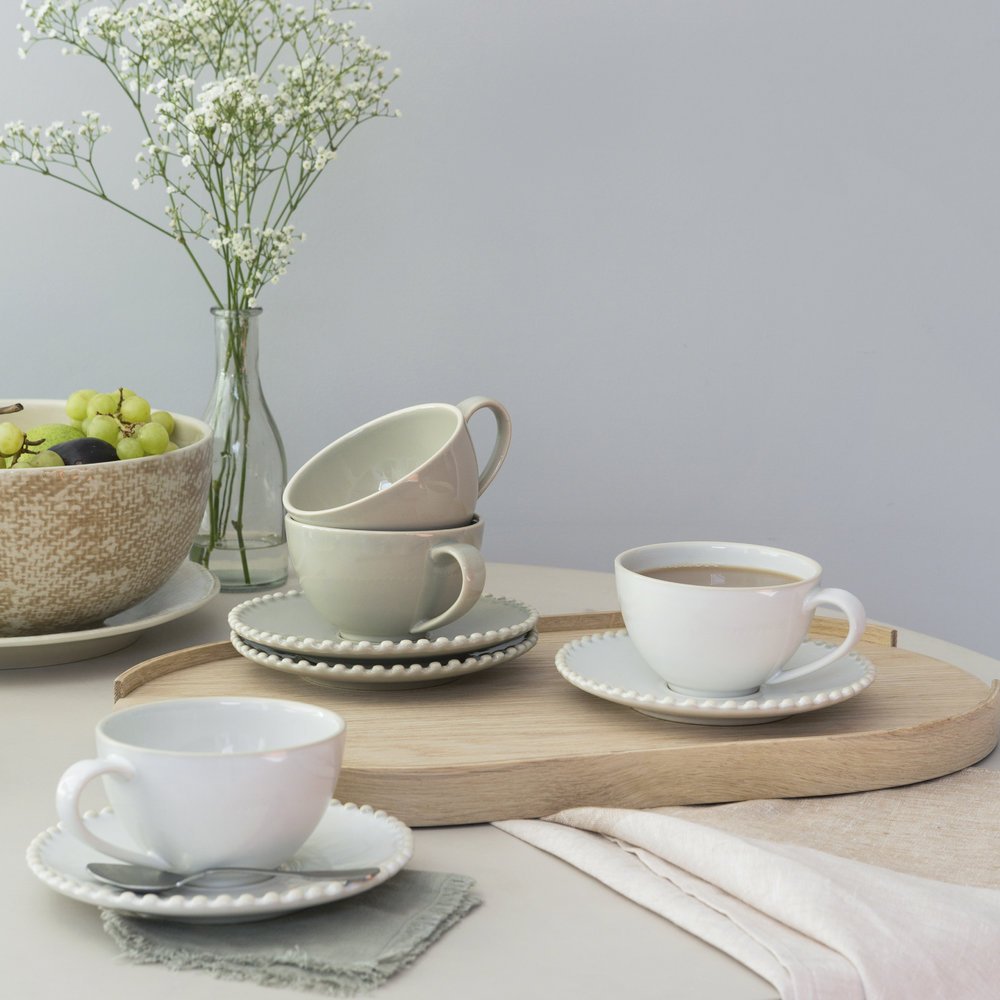 A by Amara - Luis Stoneware Teacup & Saucer - Taupe