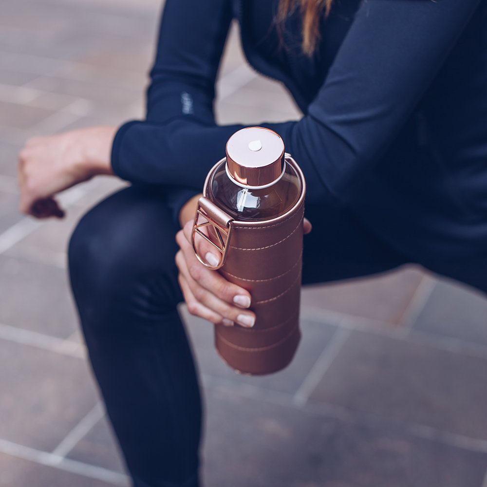 Equa - Mismatch Water Bottle with Faux Leather Cover - Bronze