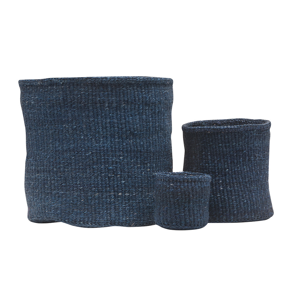 The Basket Room - Bluu Hand Woven Storage Basket - Denim Blue - M