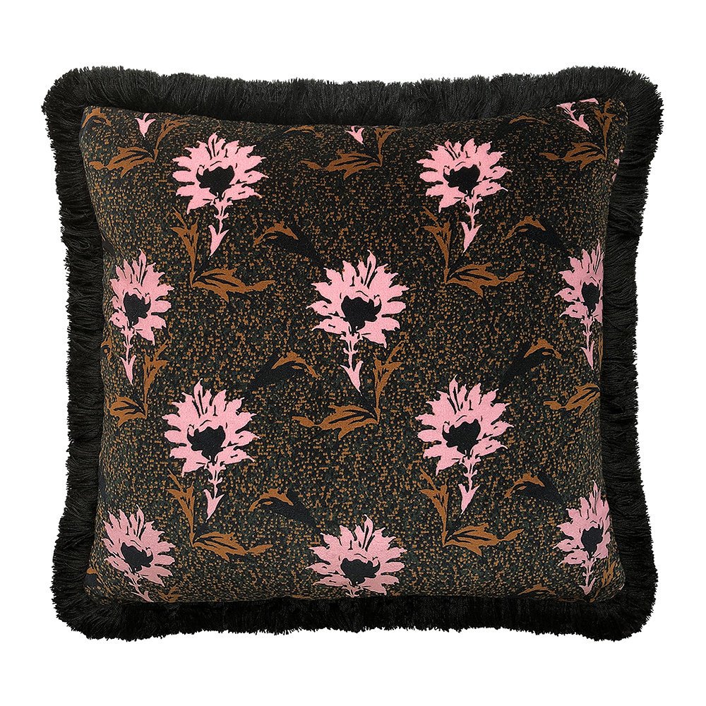 One Nine Eight Five - Flora Cushion - Black/Pink - 40x40cm