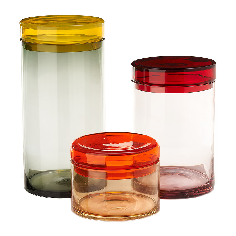 Pols Potten - Multicolored Storage Jar with Lid - Set of 3