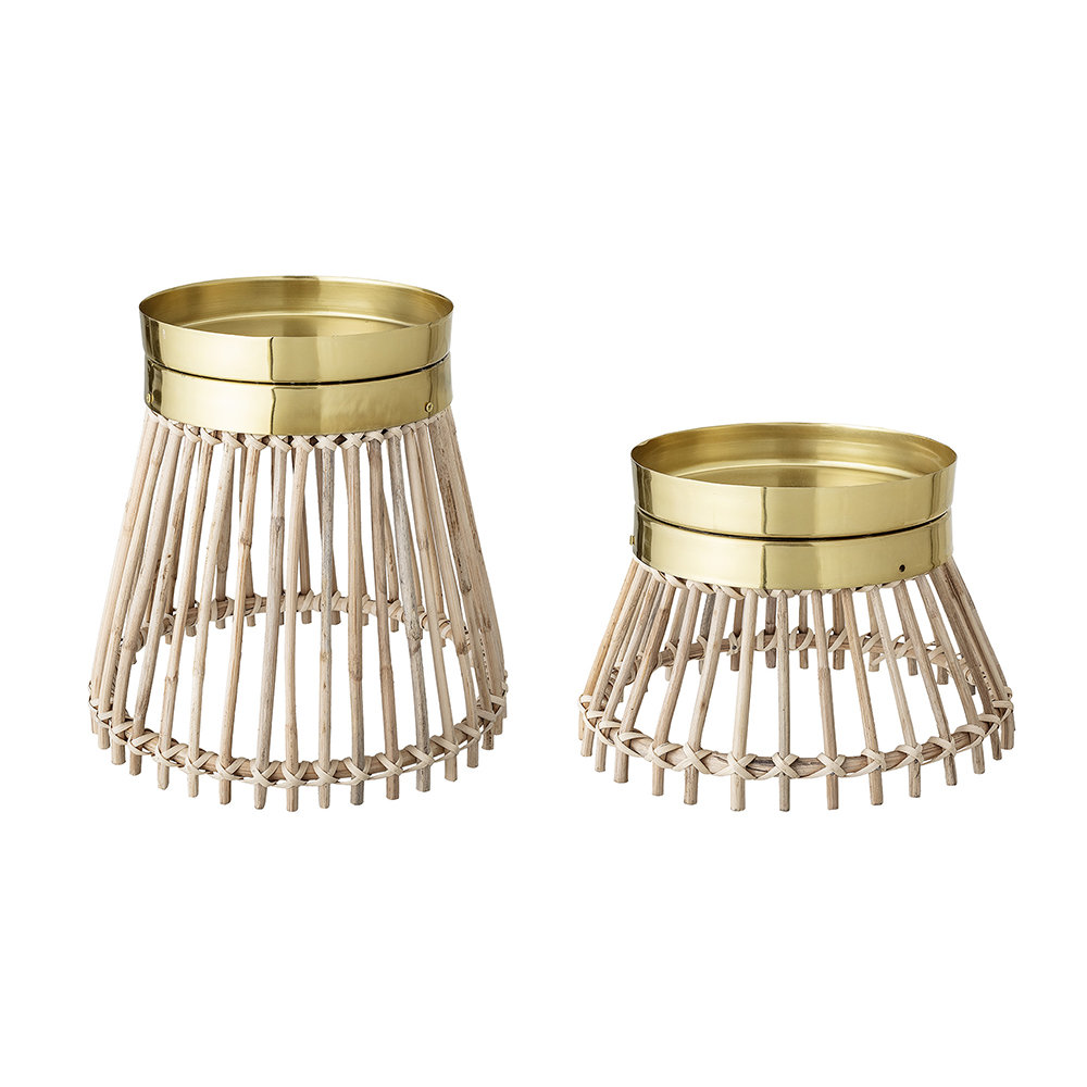 Bloomingville - Cane Metal Candle Holder - Set of 2 - Natural