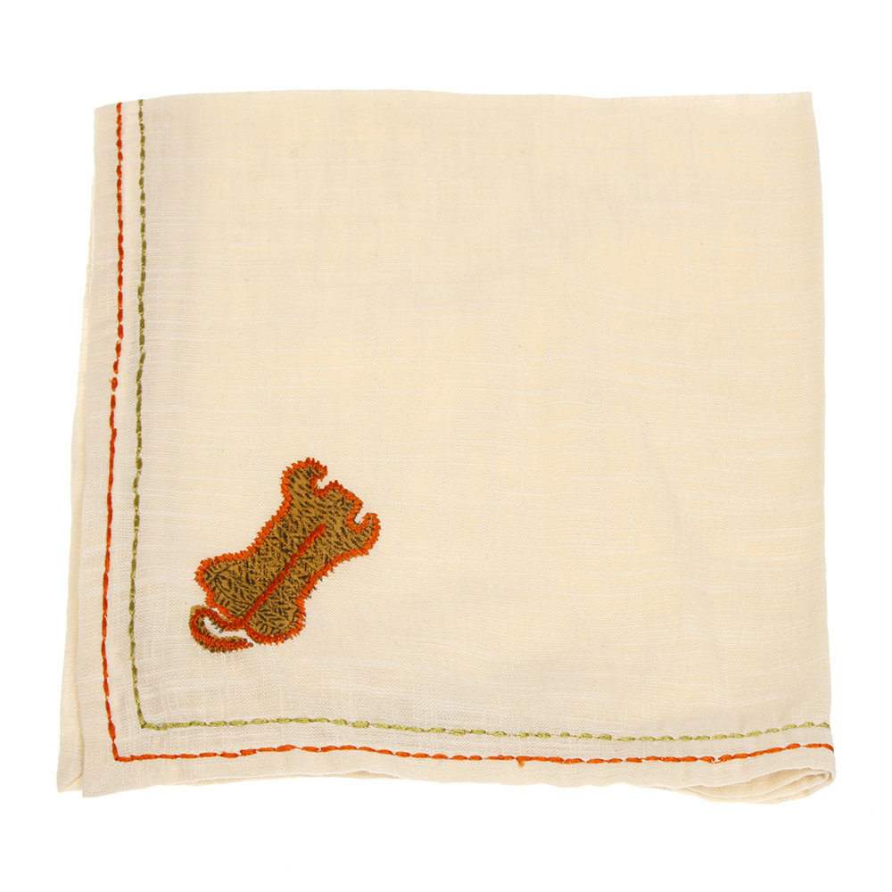 Lisa Corti - Cotton Napkin with Tiger Embroidery - Ivory