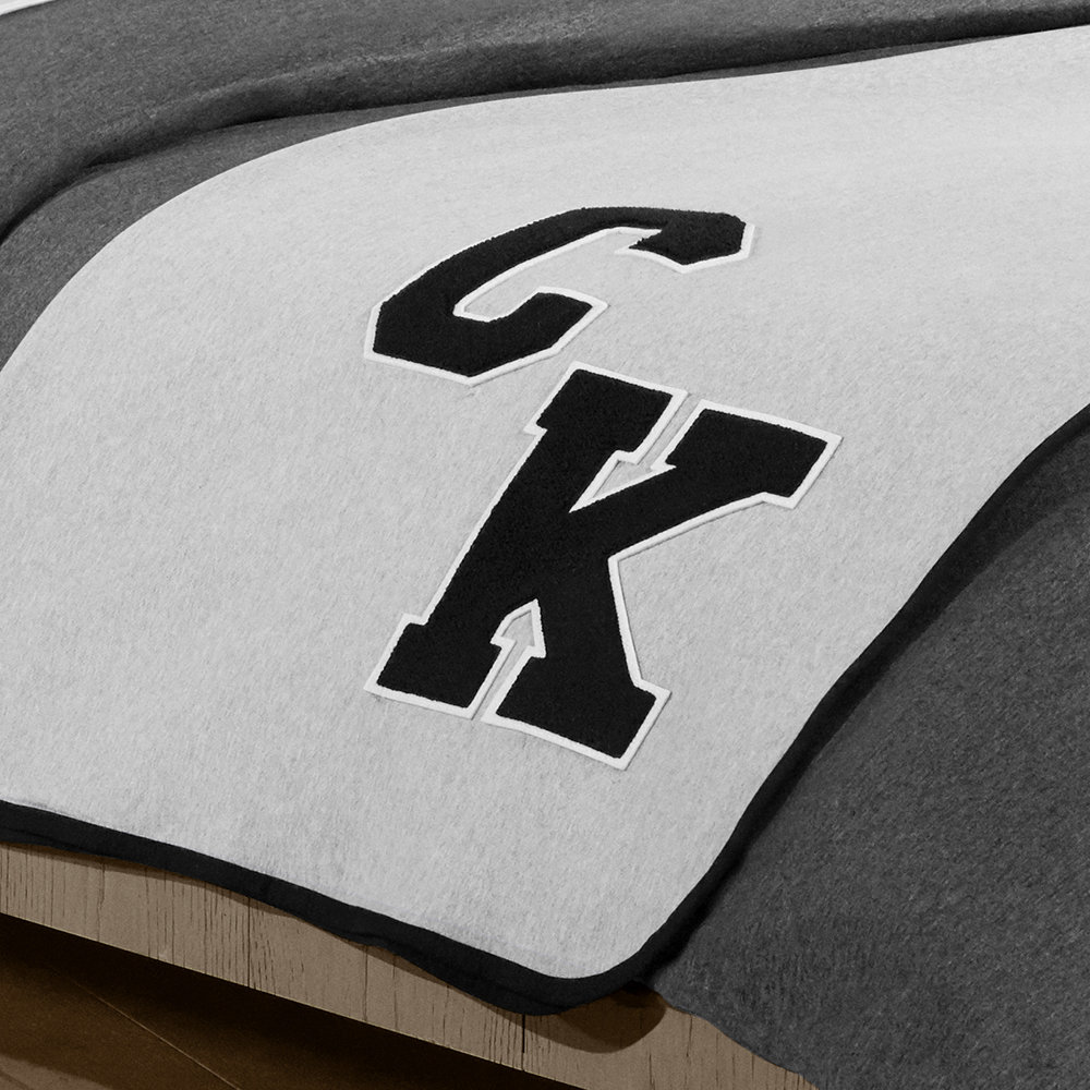 Buy Calvin Klein Varsity Sweatshirt Throw 127x178cm Charcoal Amara