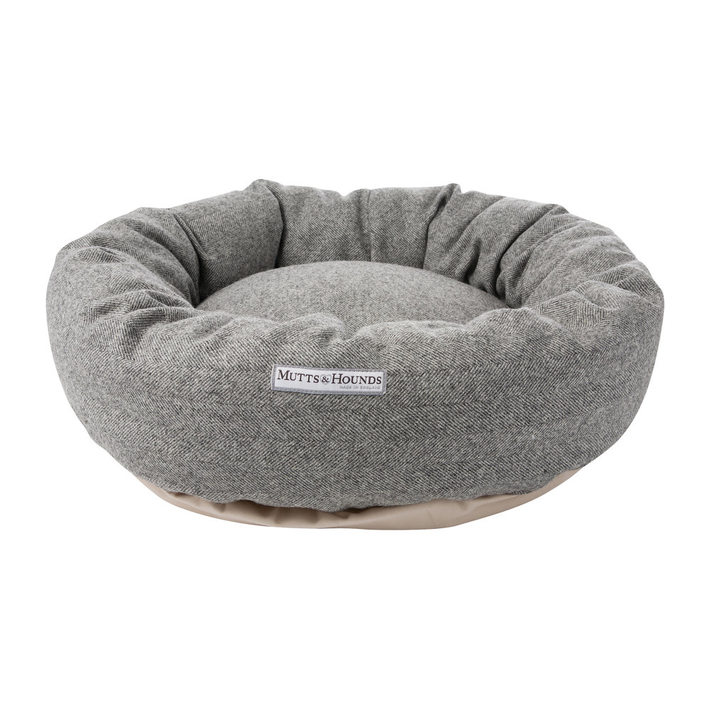 Mutts & Hounds - Tweed Donut Bed - Stoneham - Large