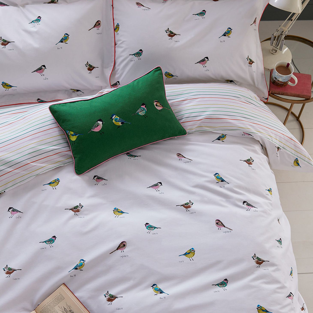 Joules - Great British Birds Quilt Cover - Chalk - Double
