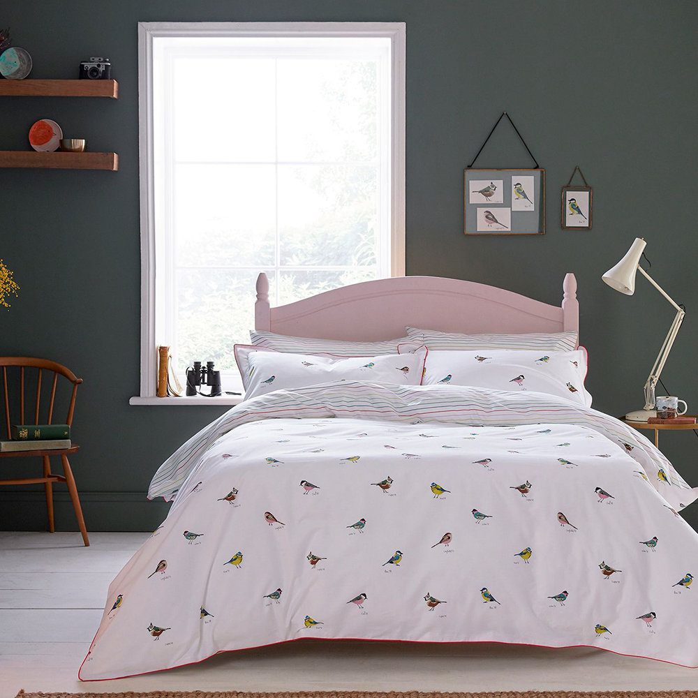 Joules - Great British Birds Quilt Cover - Chalk - Single