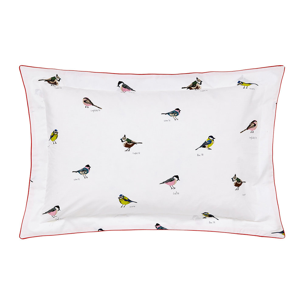 Joules - Great British Birds Oxford Pillowcase - Chalk