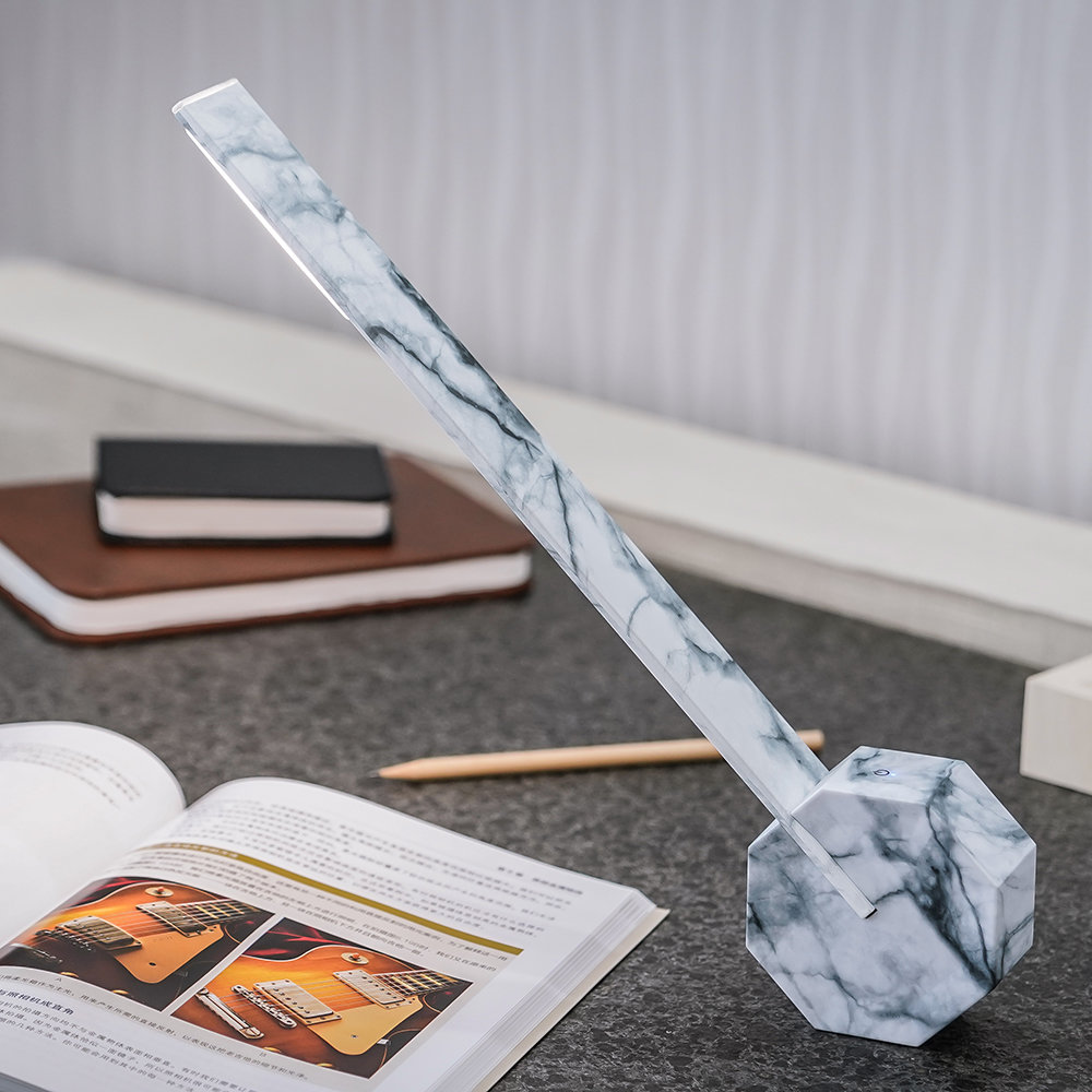 Gingko - Octagon One Rechargeable Desk Light - White Marble