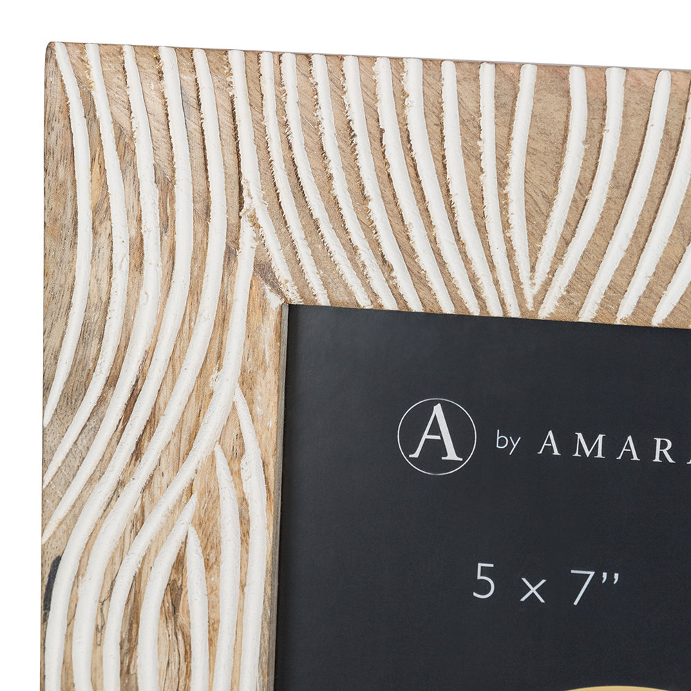 "A by AMARA - Carved Wooden Photo Frame - 5x7"" - White"