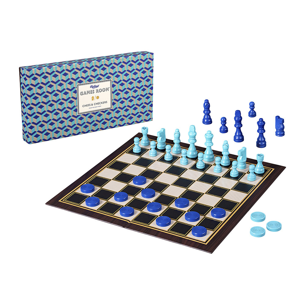 Ridley's Games Room - Chess  Checkers Set - Blue