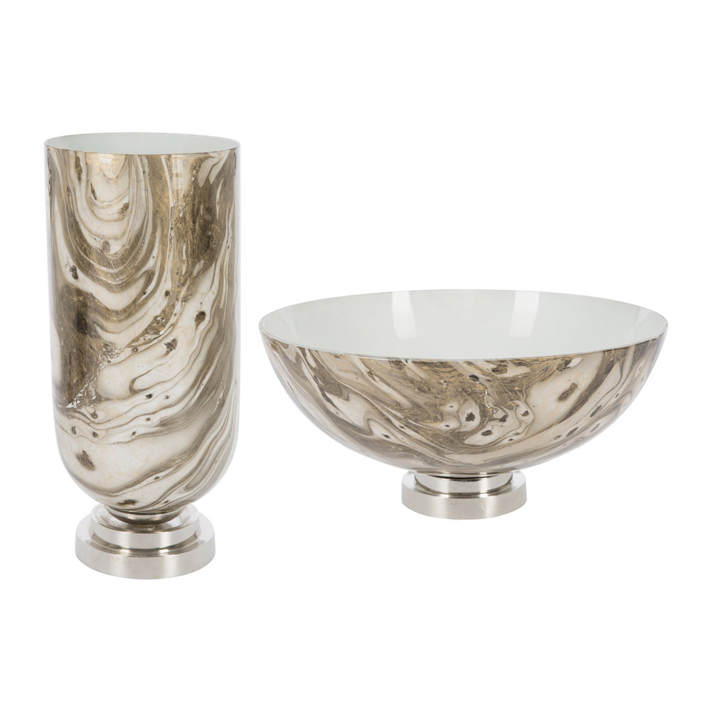 A by AMARA - Antique Look Marbled Candle Holder - Gold