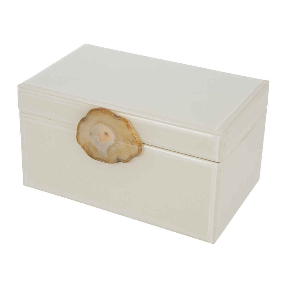 A by AMARA - Agate Handle Jewelry Box - Ivory