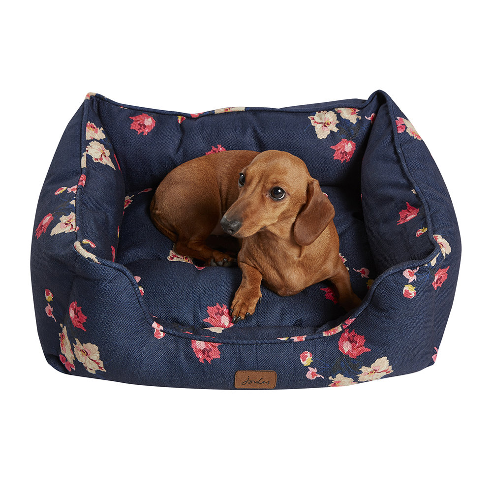 Joules - Floral Print Box Dog Bed - Small