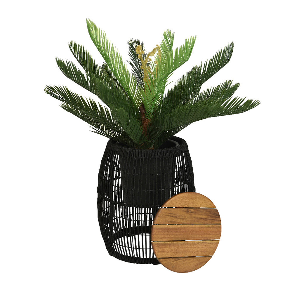 A by AMARA - Outdoor Rope Weave Side Table - Black