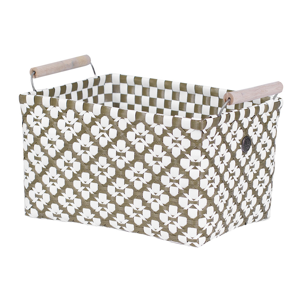 Handed By - Motif Square basket with Handles - Olive/White - Medium