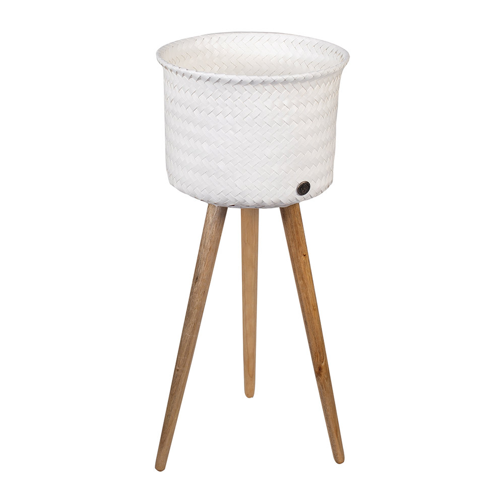 Handed By - Up Round Basket with Wooden Feet - White - High