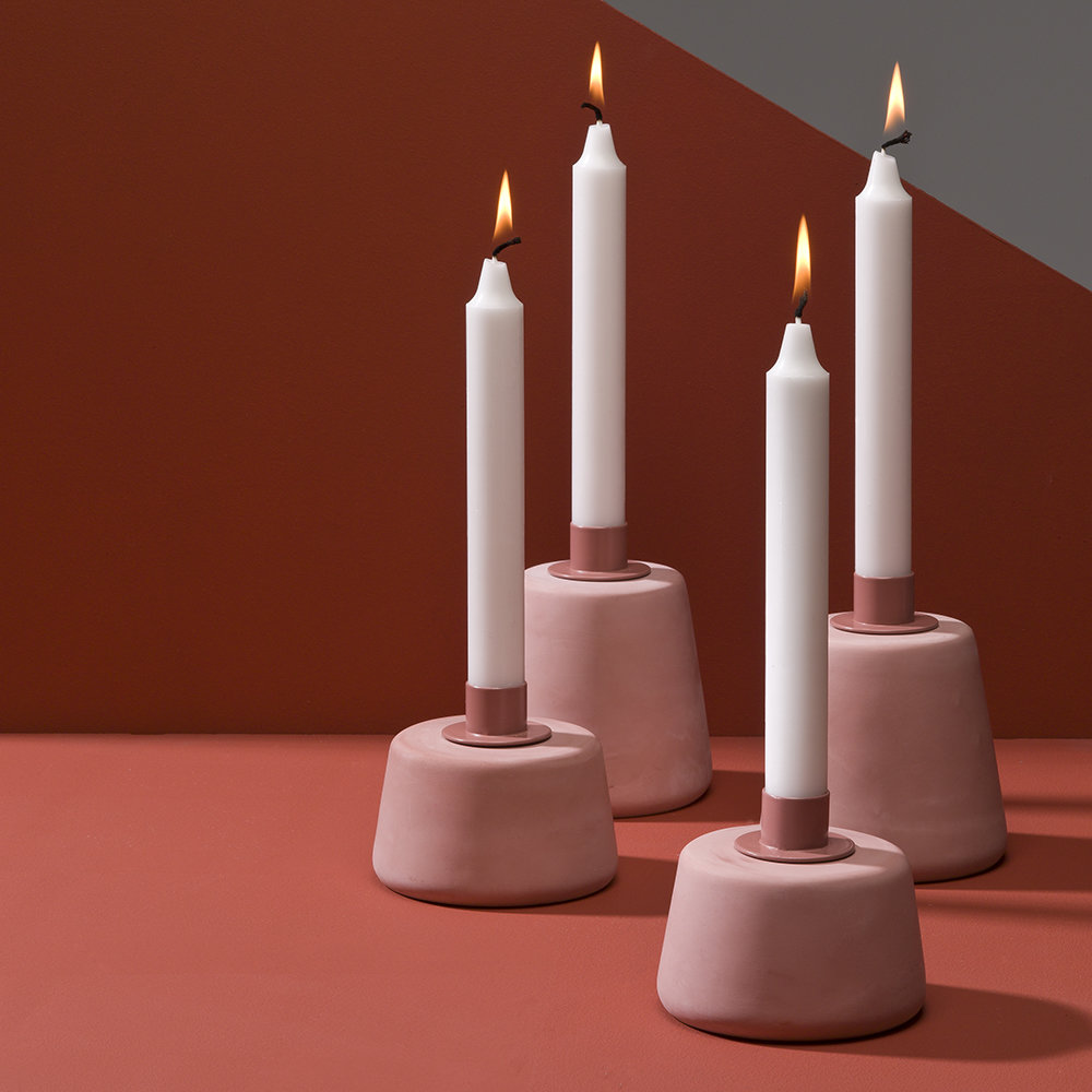 Moxon - Cone Candle Holder - Short - Pink