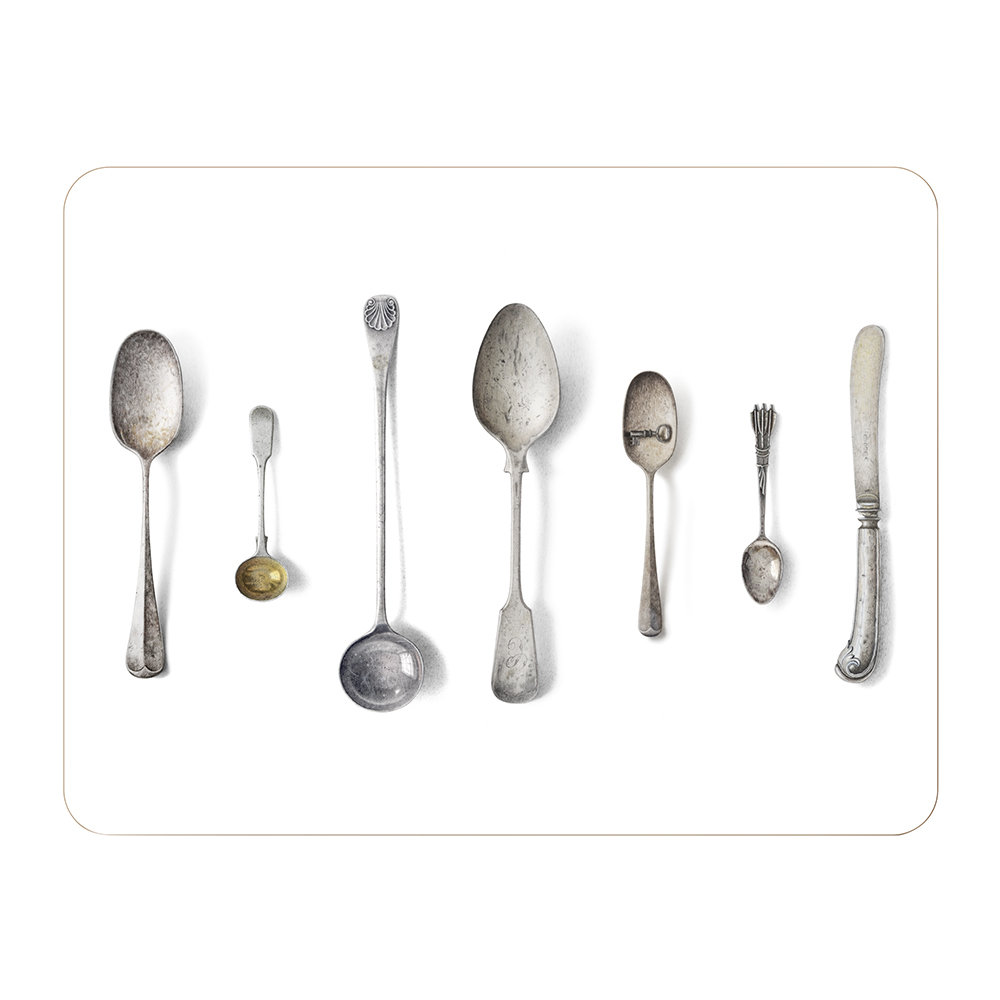 Michael Angove - 'Cutlery' Placemat - White