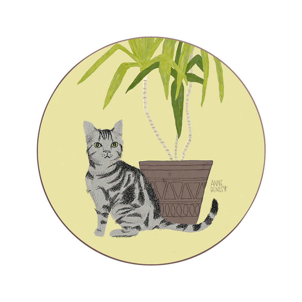 Avenida Home - Anne Bentley Cats Coaster - Tabby