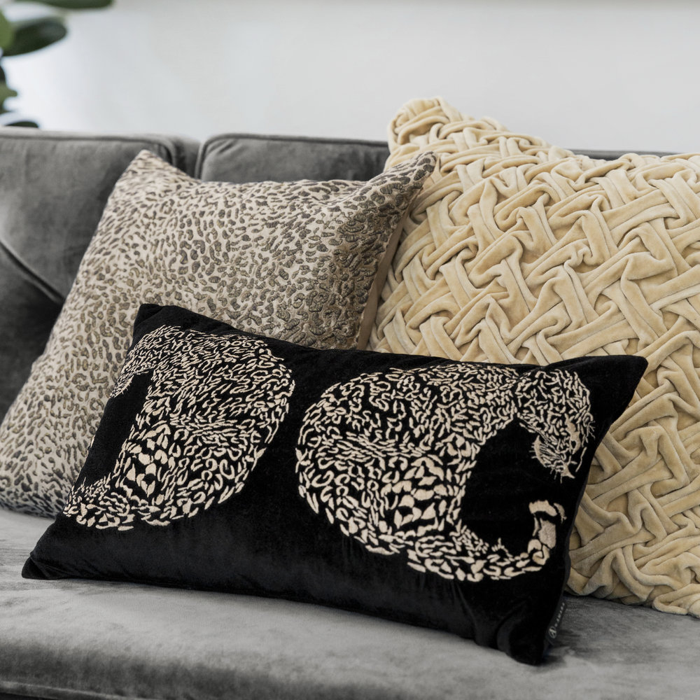A by AMARA - Black Leopard Cushion - 30x50cm