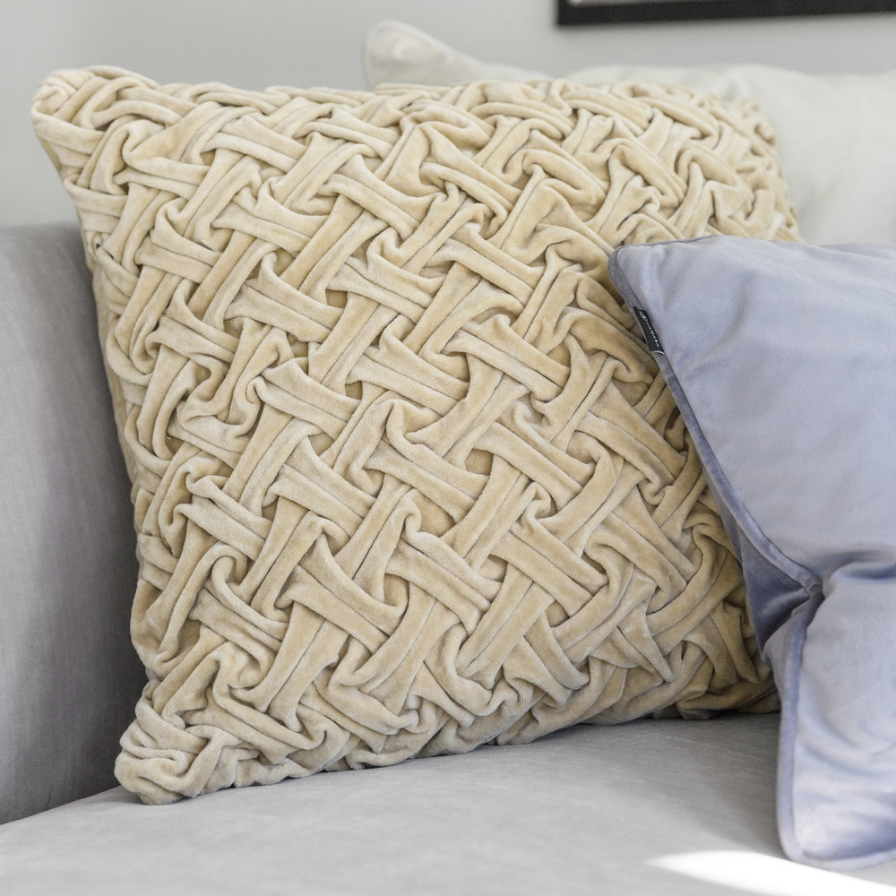 A by AMARA - Abstract Textured Pillow - 50x50cm - Champagne
