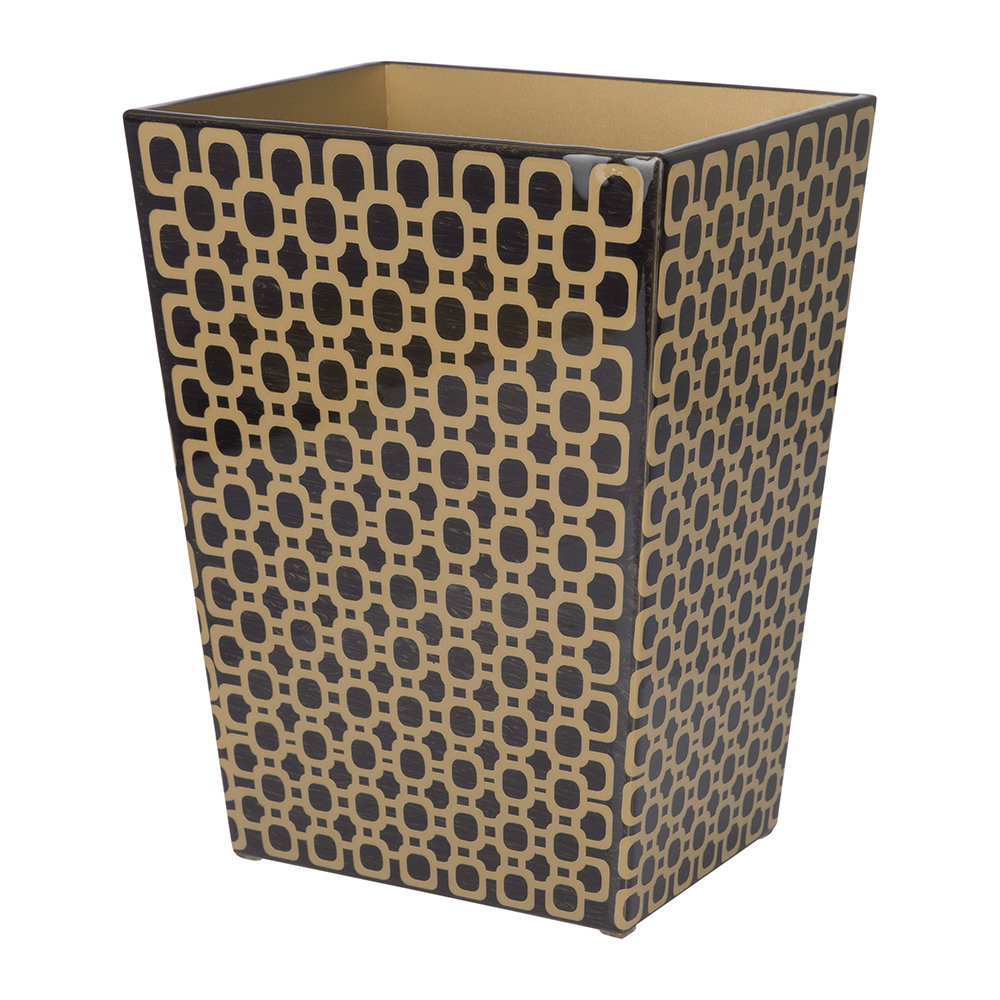 Mike + Ally - Meurice Waste Bin - Carved Chestnut / Gold
