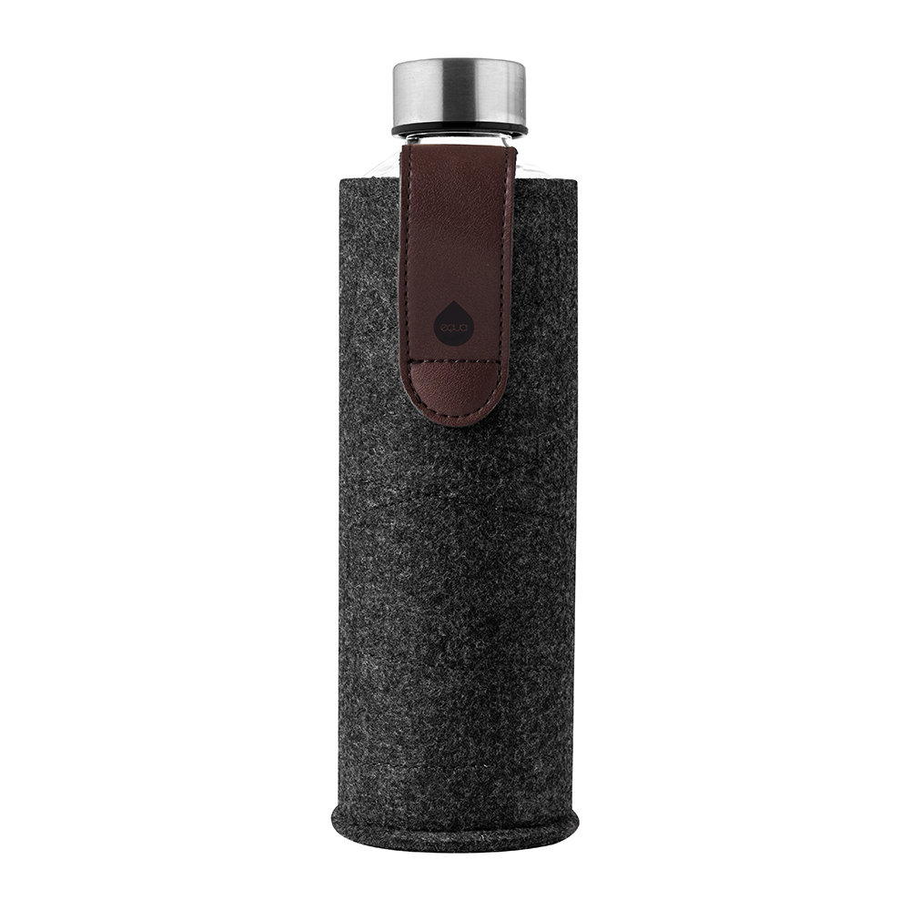 Equa - Mismatch Water Bottle with Felt and Faux Leather Holder - Chocolate Night
