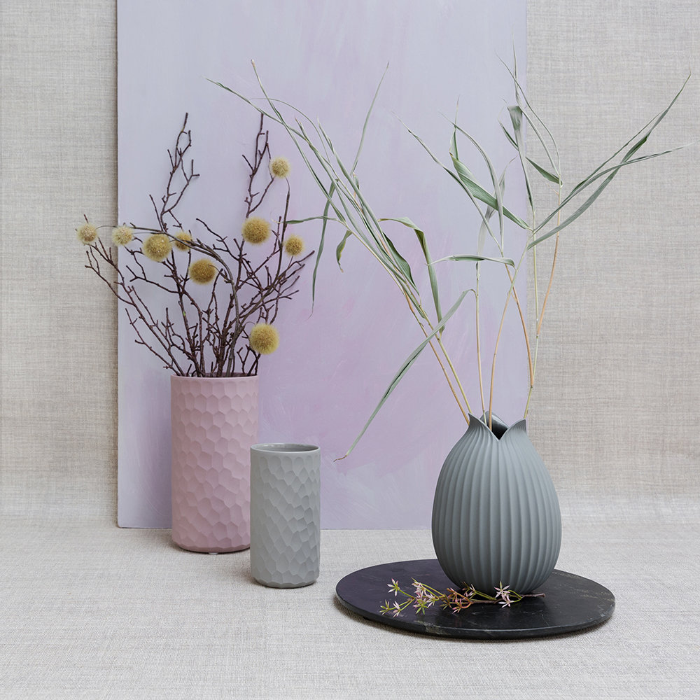 ASA Selection - Carve Vase - Cement - 16cm
