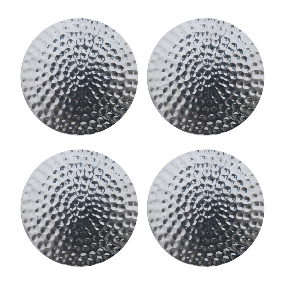 The Just Slate Company - Flat Hammered Steel Coasters - Set of 4