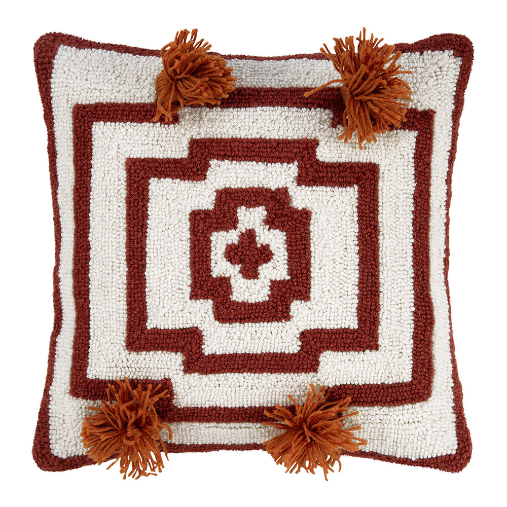 Peking Handicraft - Hypnotic Pom Pom Cushion - 40x40cm - Orange Red