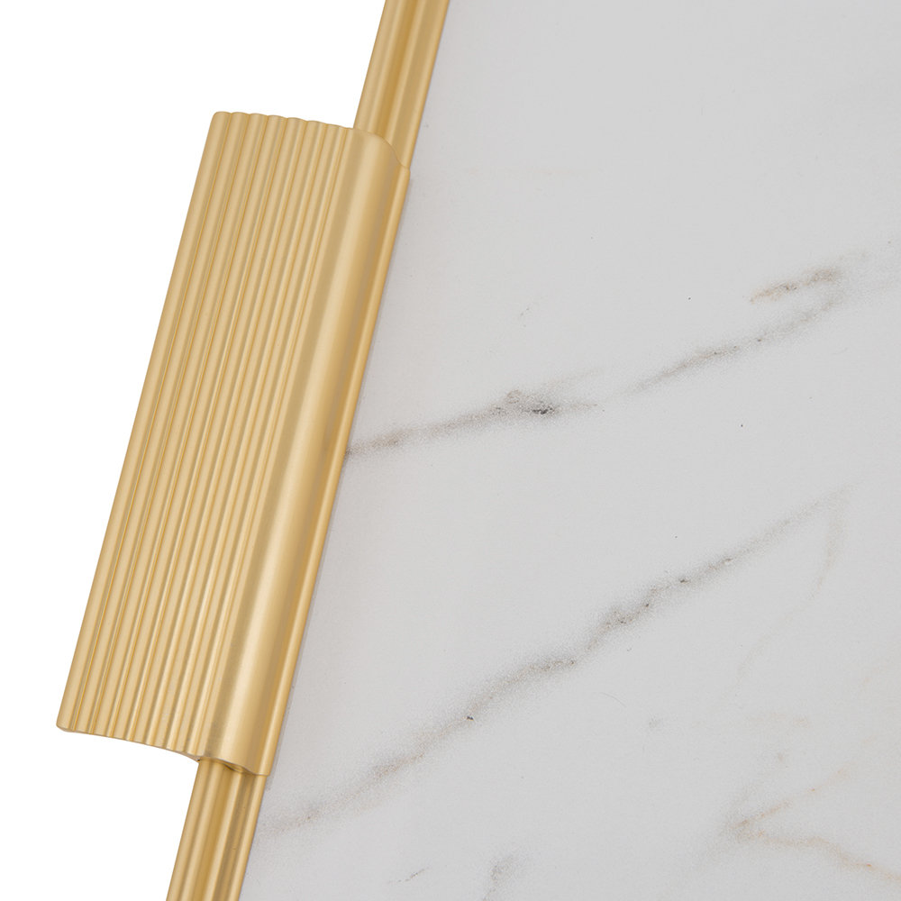 Kaymet - Ribbed Marble Tray with Handles - White