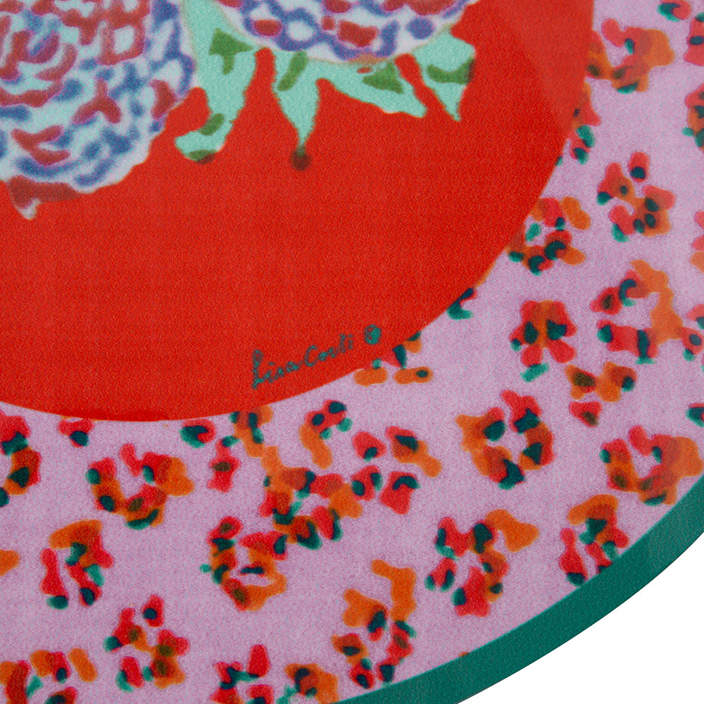 Lisa Corti - Leopard Flower Round Placemat - Red